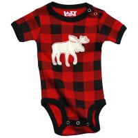 Moose PlaidApplique Unisex Babystrampler