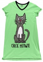 Check Meowt! Damen Nachtshirt V-Aus.
