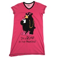 Bear in Morning Damen Nachtshirt V-Aus.