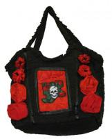 Handtasche Schwarz mit Rosen & Totenkopf