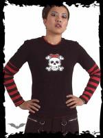 Schwarzes Shirt mit Totenkopf auf der Vorderseite