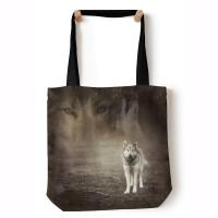 Grey Wolf Portrait Grey Tragetasche