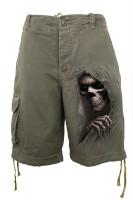Grim Ripper Shorts im Gebrauchtlook oliv