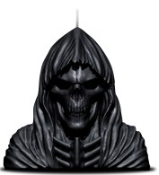 Reaper Skull Wachskerze m Metallskulptur