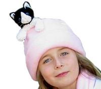 Fleecemütze rosa schwarz-weißer Katze