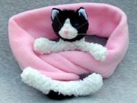 Fleece rosa Mütze und Schal mit schwarz-weißer Katze