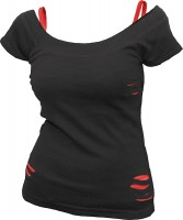 Urban Fashion - Girlie 2in1 Schlitzshirt unbedruckt