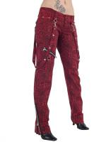 Rote Leohose mit Bondages und Zippers