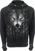 Forest Wolf Hoodie Jacke grob gerippte Ärmel