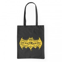 DC Comics Batman Logo Black Canvas Bag 38 x 42cms (15 x 16.5 inches)