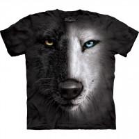 Black & White Wolf Face Animal T Shirt