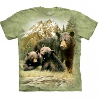 Black Bear Family Animal T Shirt