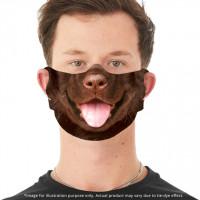 Großes Gesicht Schokoladenlabor Welpe Gesichtsbedeckung mit Ohrschlitzen