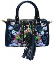 Kleine Umhänge-/Handtasche aus Stoff Skulls & Roses