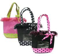 Bunte Stoffhandtasche / mit transpartentem Fach für z. B. ein Bild