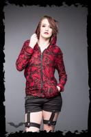 Rote Jacke mit vielen verschiedenen Totenköpfen