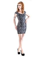 Graues Kleid mit Totenkopf und Rosen Muster  +Größe