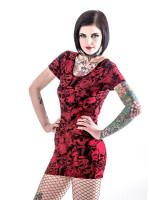 Rotes Kleid mit vielen verschiedenen Totenköpfen  +Größen