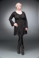 Schwarzes Kleid mit V-Ausschnitt und Schnürung +Größe