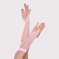 Handschuhe Fingerschlaufe Netz lang rosa