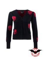 Schwarzer Cardigan mit roten Totenköpfen