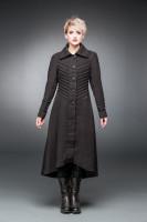 Langer Gothic-Mantel mit Ziernähten